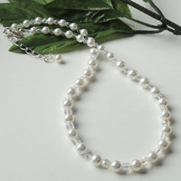 White Swarovski Pearl Sterling  Bridal Necklace
