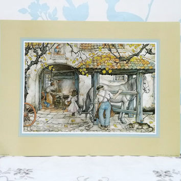 Prints of The Blacksmith by Anton Pieck 3 D Art for Decoupage, by Jorrit of Holland, Litho Prints x 7, Shadow Box Art, uncut, ready to make