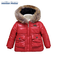 Factory Direct Supplier New 2016 Children Wadded Coat Winter Fashion Faux Hooded Jacket Thickened Warm Coats with Fur Collor