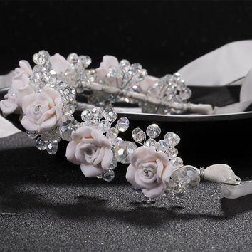 new red white flower headbands bridal head accessories wedding crystal bride wreath hair jewellery  Hair Sticks