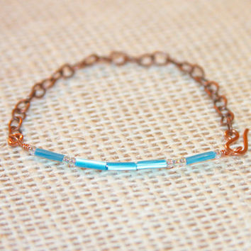 Love Bracelet, Morse Code Love Bracelet, Copper Bracelet, Custom sized, Gifts Under 20