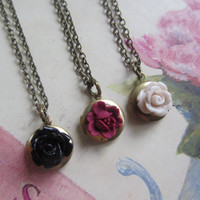Best Friend Necklaces, Round Locket with Black Mauve Cream Rose Set of Three (3) necklaces Vintage Wedding, Bridesmaids Gifts