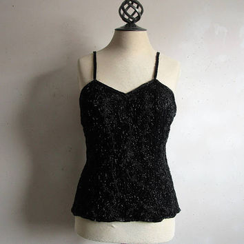 Evening Beaded 80s Tank Top Vintage Black Glass Bead 1980s Tank Top Large