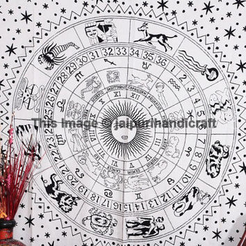 ASTROLOGY Zodiac Hippie Hippy Wall Hanging, Indian Tapestry Throw Bedspread Decor, Horoscope Tapestry, Indian tapestry, Bohemian Wall art