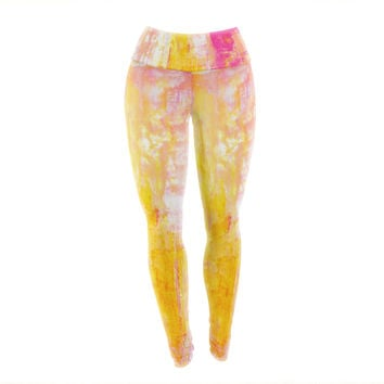 "CarolLynn Tice ""Growing Taller"" Pink Yellow Yoga Leggings"