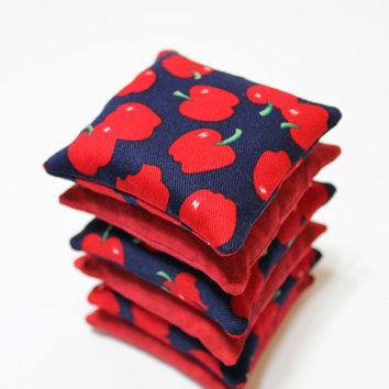 Bright Red & Navy Blue with Red Apples Bean Bags Fall Child's Toy Autumn Toss Game Party Favor (set of 6) - US Shipping Included