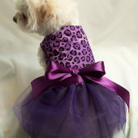 RockinDogs Purple and Black Leopard Tutu Dress for Dogs Easter Weddings