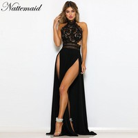 NATTEMAID Black Red Long Maxi Party Dress Sexy Split Hollow Out Lace Dress Summer 2019 Backless Elegant Vestidos Female Casual
