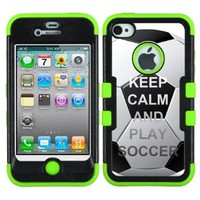 One Tough Shield ® Hybrid 3-Layer Phone Case (Black/Green) for Apple iPhone 4 4S - (Keep Calm / Play Soccer)