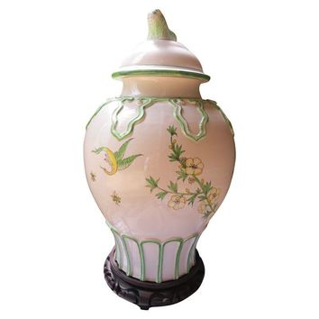 Pre-owned Chinoiserie Hand Painted Ginger Temple Jar