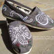 Handpainted Custom Toms Shoes Elephants PAINTING on by FancyToms