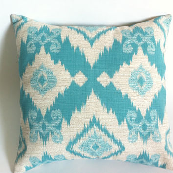 "One Aqua Outdoor Zipper Pillow Cover 18x18"" Turquoise Outdoor Pillow Ikat Print Light blue outdoor cover"