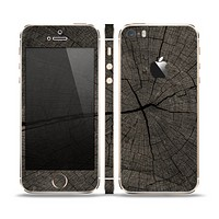 The Dark Cracked Wood Stump Skin Set for the Apple iPhone 5s