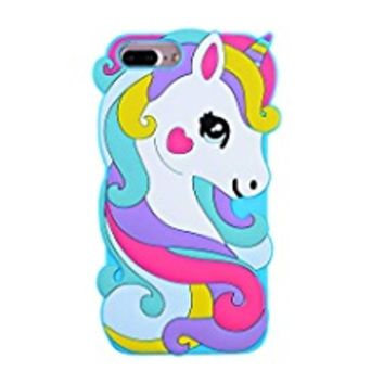 "TopSZ Case for iPhone 6 4.7"",Cute Silicone 3D Cartoon Cool Kawaii Animal Cover,Shockproof Soft Rubble Skin for iPhone 6S,Funny Unique Character Cases for Kids Girls Teens boy Guys-Rainbow Unicorn"