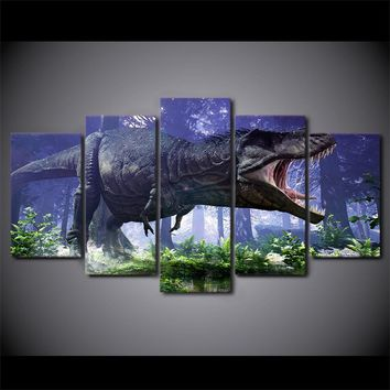 5 Piece Jurassic Park Dinosaurs Wall Art on Canvas Picture For Living Room