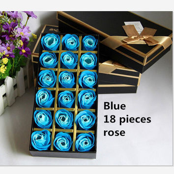 Christmas presents 12 roses soap flower chocolate cartoon toy box Valentine's day gift Soap flower Blue 18 piece rose