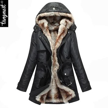TANGNEST Winter Jacket Coat Women Faux Fur Lining Hooded Windshield Zipper Sashes Plus Size Long Parka Manteau Femme WWM056