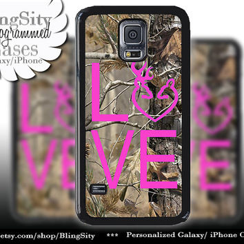Buck Doe Love Heart Galaxy S4 case S5 Camo Hot Pink Browning RealTree Tree Deer Camo Samsung Galaxy S3 Case Note 2 3 4 Cover Country Girl