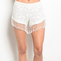 Bella Crochet Fringe Short (White)