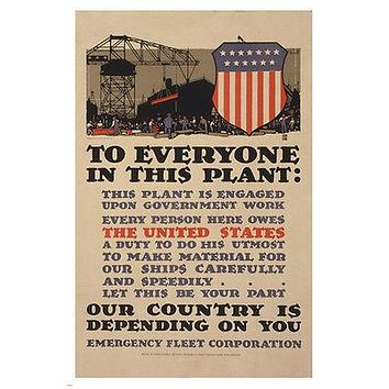 to EVERYONE in this PLANT classic GOVERNMENT AD poster PATRIOTIC 24X36 rare