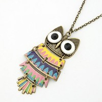 FREE SHIPPING Yellow Colorful Owl Bronze Necklace@09051229