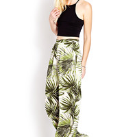 Tropical Frond Wide-Leg Pants
