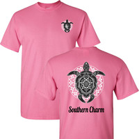Southern Charm Turtle Print on a Light Pink Short Sleeve T Shirt