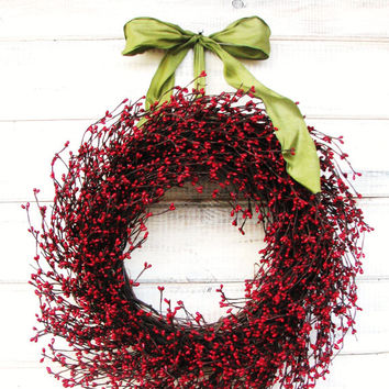 Christmas Wreath-Holiday Door Wreath-Winter Wreath-Christmas Decor-SCENTED WREATHS--Red Berry Wreath-Rustic Home Decor-Holiday Decor