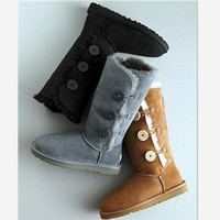 """""""UGG"""" Women Fashion Wool Snow Boots three Button (4-color)"""
