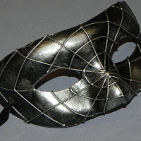 Spider Web Masquerade Mask with Black and Silver Accents - Halloween Mask
