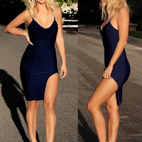Black Erika High Slit Bustier Top Bandage Dress