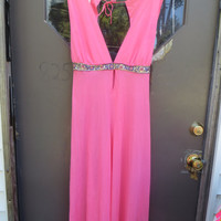 Vintage sexy  60s hot pink  Nylon Lounge Flower Child Wide Leg Jumpsuit ROMPER LINGERIE sz med