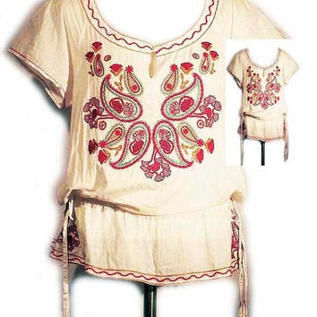 Hippy Peasant Top with Machine Embroidered Design and Drawstring Waist Sz MED
