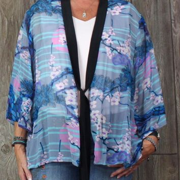 Pretty Bob Mackie 2x size Kimono Shirt Jacket Blue Pink Gray Sheer Silk Womens Plus