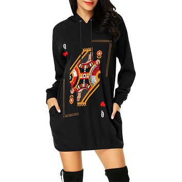 Queen Me Print Women's Hoodie Dress