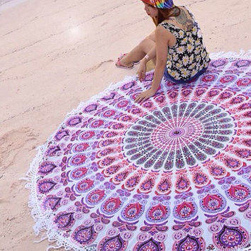 Indian White Pink Purple Round Roundie Mandala Tassel Fringe Tapestry Wall Hanging Throw Beach Picnic Blanket Bed Sheet < Uk SELLER >