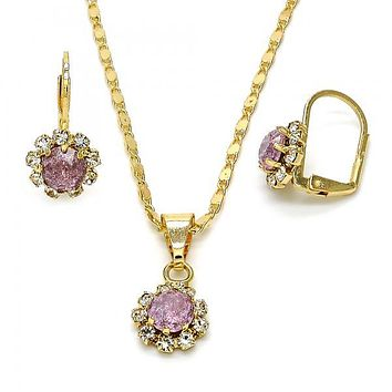 Gold Layered Necklace and Earring, Flower Design, with Crystal, Gold Tone