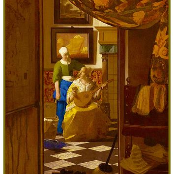 The Love Letter by Johannes Vermeer Counted Cross Stitch or Counted Needlepoint Pattern