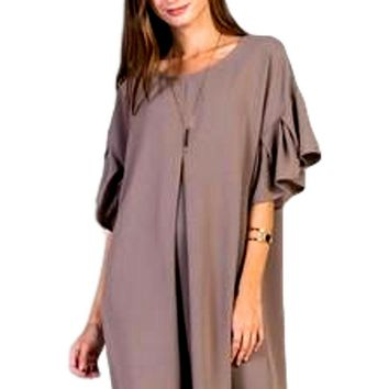 Casual Bell Sleeve Dress, Mocha