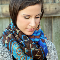 Sale Boho Scarf- Aztec, Tribal Poncho Scarf - Aztec Shawl Scarf - knitted scarf - blue, Turquoise scarf , Fall color scarf
