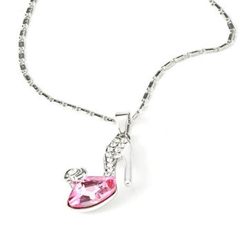 Silver Tone Pink Crystal Shoe Pendent Necklace
