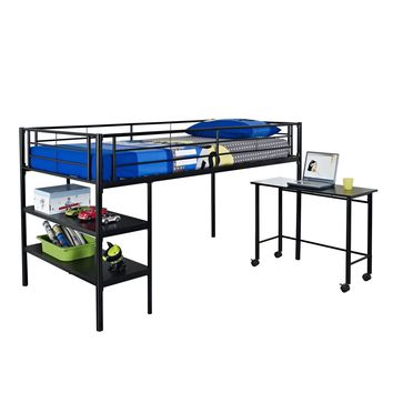 Twin Low Loft Bed with Desk - Black