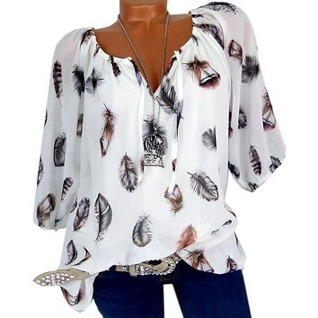 Plus-Size  Blouses Leisure Blouse White Loose Feather Print V Neck Half Sleeve Shirts