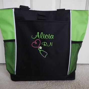 Tote Bag Personalized Nurse Student RN BSN CNA Rt Lvn lpn Nicu Msn Rt Cpnp Cardiac Respiratory Care er Department  Nursing ccrn Clinical