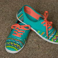 Hand painted shoes, aztec plimsolls, colorful shoes for women MADE TO ORDER