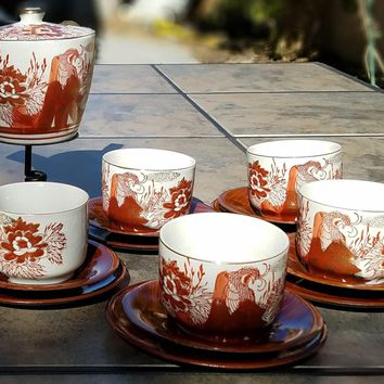 Japanese Tea Set for 5 with Japanese Teapot, Japanese Tea Cups and Rare Original Japanese Saucers and Cake Plates