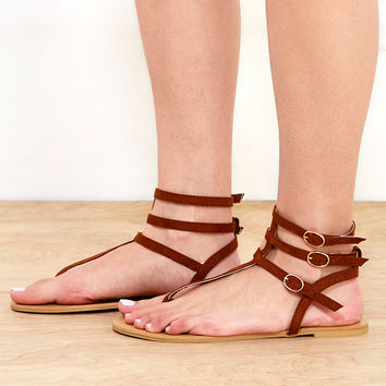 Faux Suede T-Strap Sandals | Wet Seal