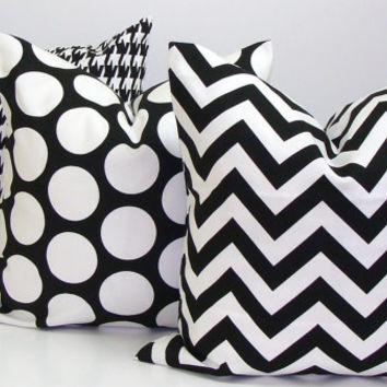 BLACK PILLOW.20x20 inch Decorator Pillow Cover.Printed Fabric Front and Back.Black and White.Greek Key.Maze.Cushion