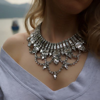 Persephone - Lustrous Swarovski Crystals Statement Necklace - Made to order
