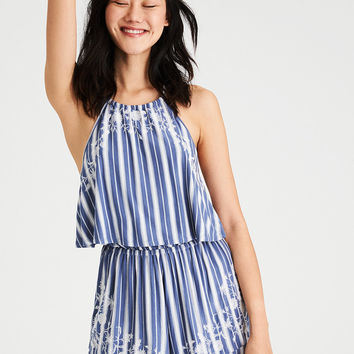 AE Knit Embroidered Halter Romper, Blue